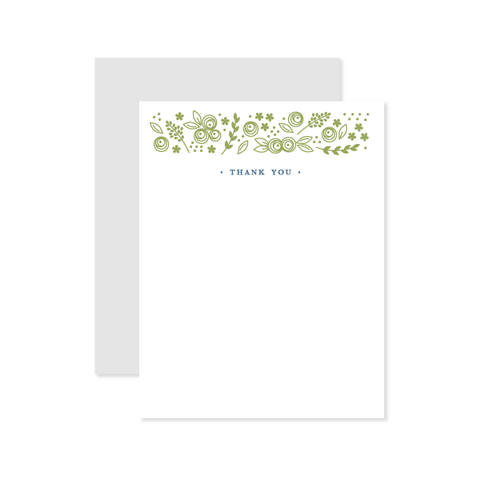 Floral TY Flat Note by Oh My Word Paperie