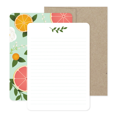 Fresh Citrus Stationery Set by Oh My Word Paperie