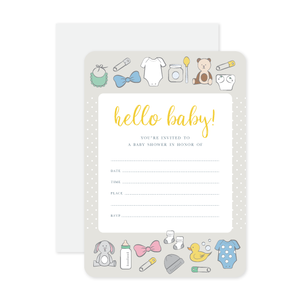 Hello Baby Invitations by Oh My Word Paperie