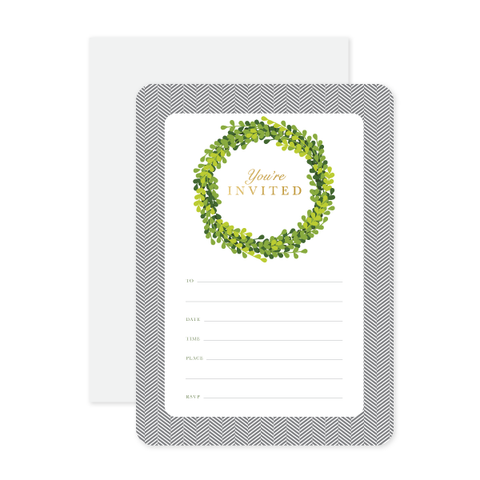 Boxwood Invitations by Oh My Word Paperie