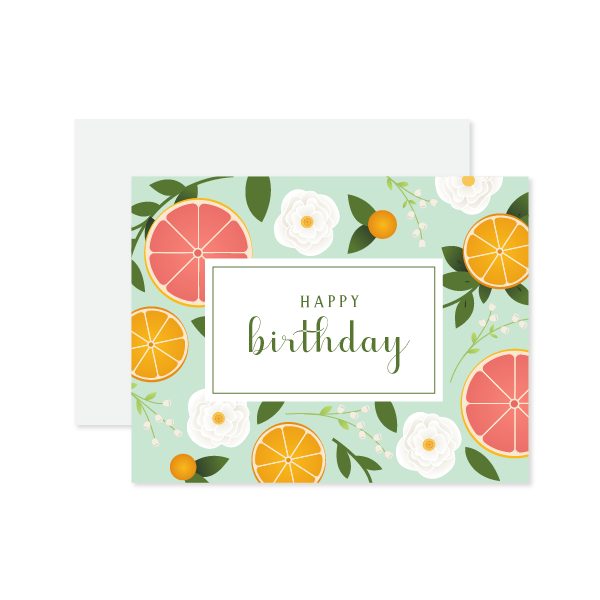 Happy Birthday Citrus Card by Oh My Word Paperie