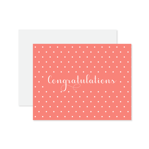 Congrats Melon Polka Dot Card by Oh My Word Paperie