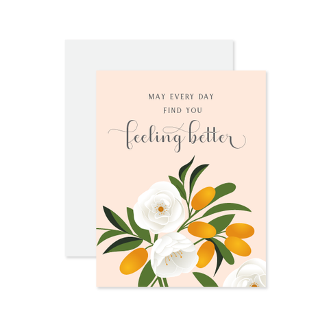 Feeling Better Floral Card by Oh My Word Paperie