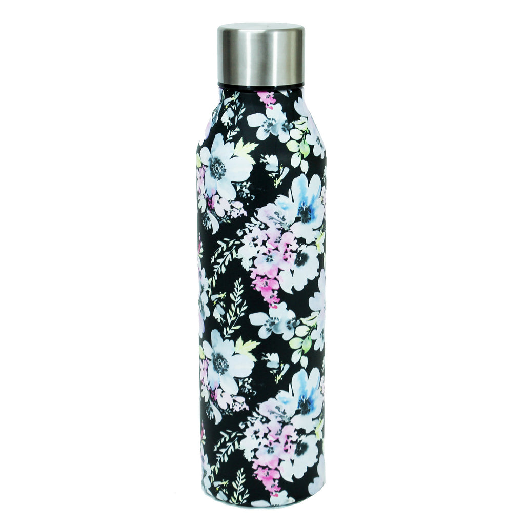 Black Floral Stainless Water Bottle by Mary Square