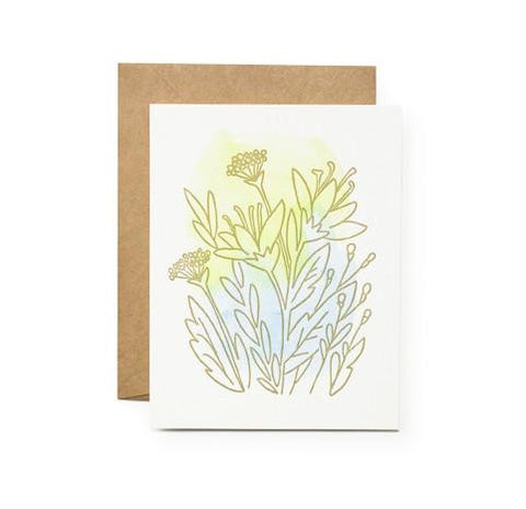 Blue Green Lily Card by Moglea