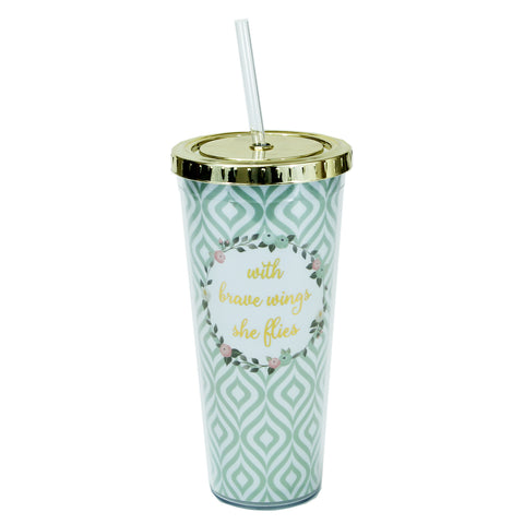 Blue Trellis Straw Tumbler by Mary Square