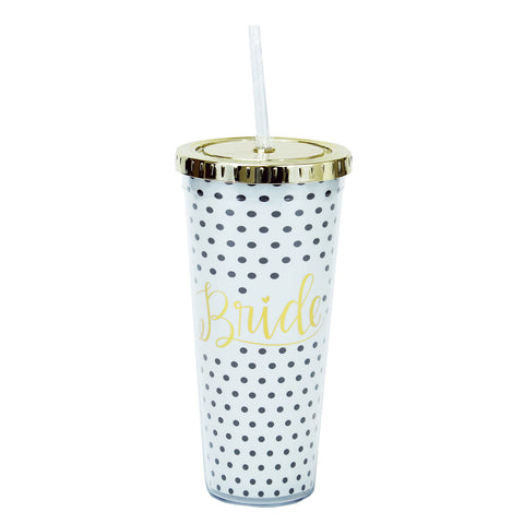 24 oz. Bride Polka Dot Straw Tumbler by Mary Square
