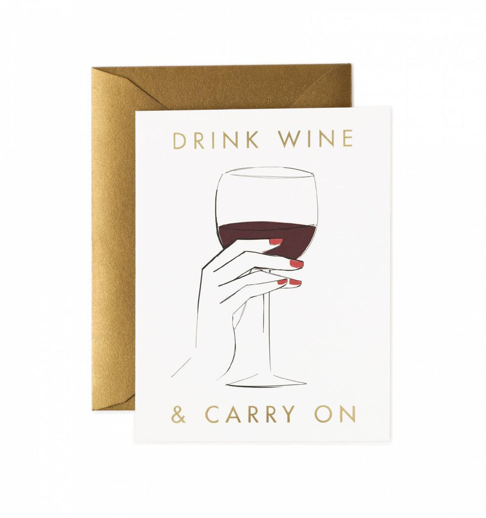 Drink Wine and Carry On Card by Rifle Paper Co