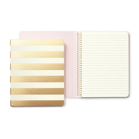 Gold Stripe Concealed Spiral Notebook by Kate Spade