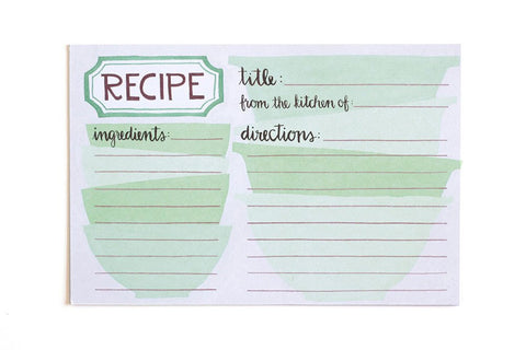 Green Bowls Recipe Cards by 1 Canoe 2