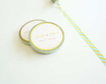 Aqua Stripe Gold Washi Tape by Simply Gilded