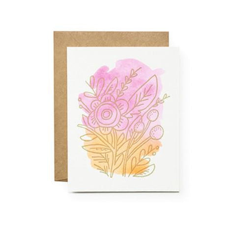 Orange Pink Poppy Card by Moglea