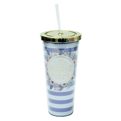 Purple Stripe Straw Tumbler by Mary Square