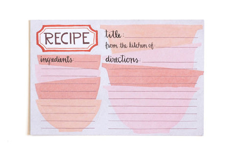 Pink Bowls Recipe Cards by 1 Canoe 2