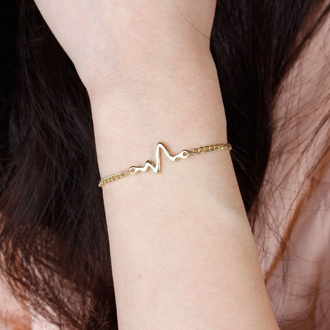 Heartbeat Bracelet - in silver, black or gold