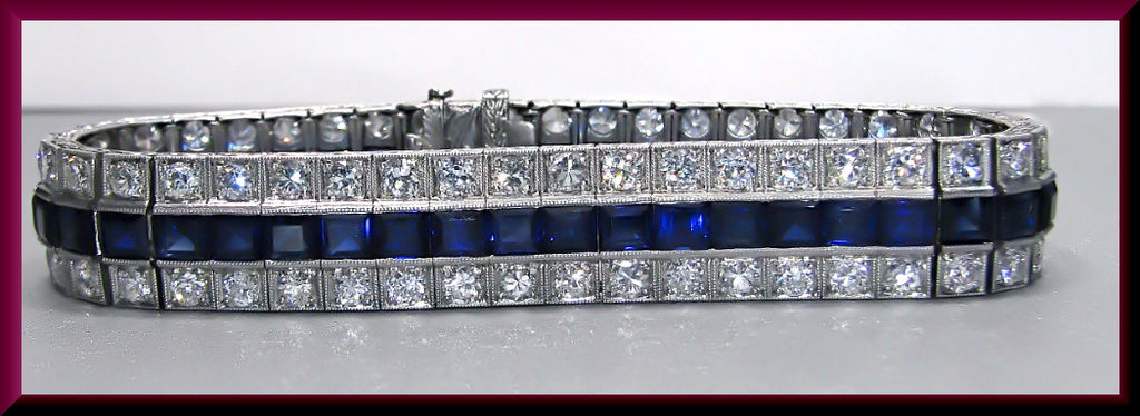 Antique Vintage Art Deco Platinum Old European Cut Diamond Bracelet
