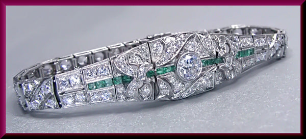 Antique Vintage Art Deco 18K White Gold Old European Cut Diamond Filigree Bracelet