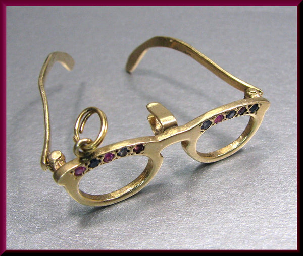 Vintage 14K Yellow Gold, Sapphire and Ruby EyeGlass Charm