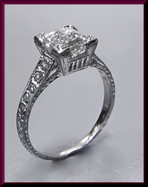 Antique Vintage Art Deco 1920's GIA Certified Platinum Emerald Cut Diamond Engagement Ring Wedding Ring