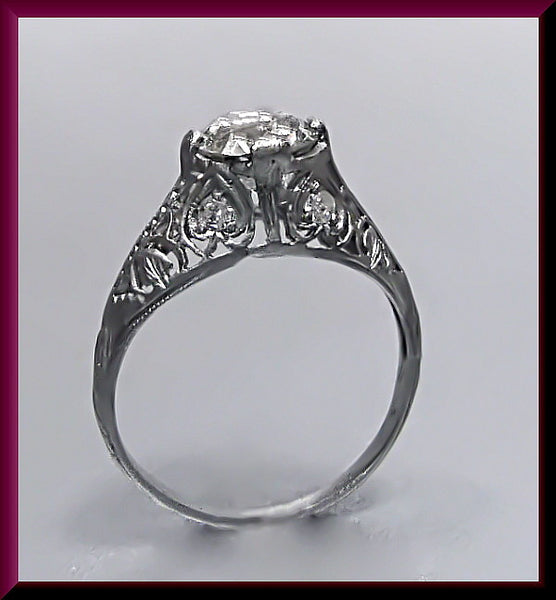Antique Vintage Art Deco 1920's Platinum Old European Cut Diamond Filigree Engagement Ring