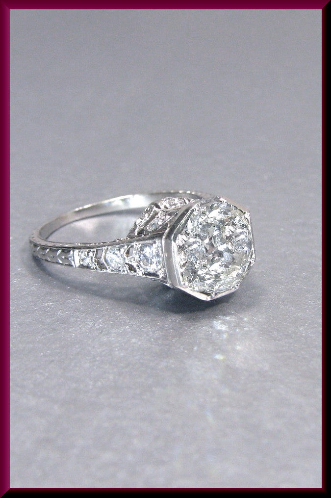 Antique Vintage Art Deco Platinum Old European Cut 2.10 CT Diamond Filigree Engagement Ring Wedding Ring