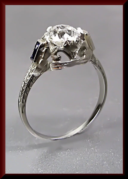 Antique Vintage Art Deco 18K White Gold Old European Cut Diamond Engagement Ring Wedding Ring