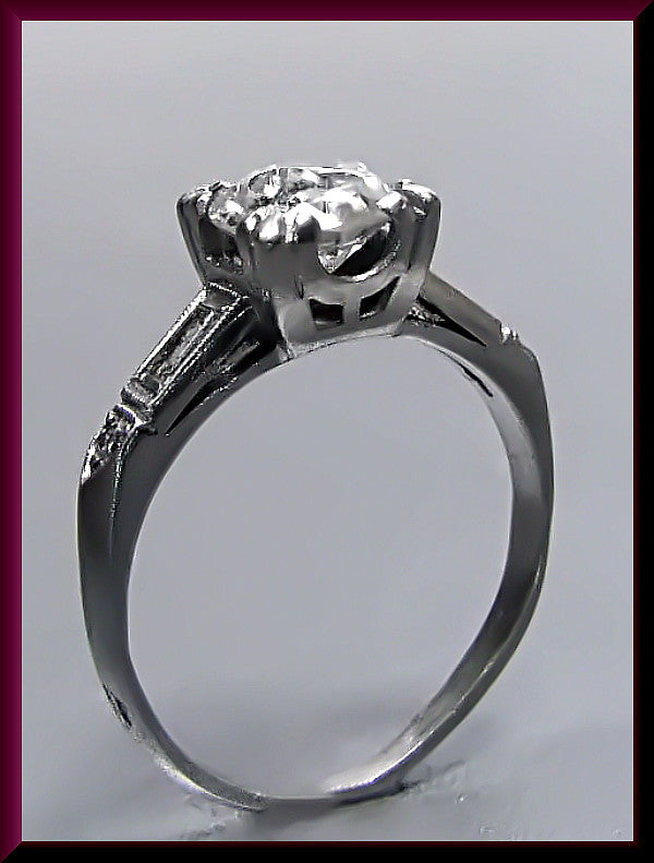 Antique Vintage 1930's Art Deco Platinum Old European Cut Diamond Engagement Ring Wedding Ring