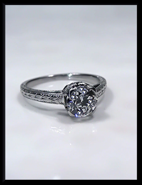 Antique Vintage Art Deco Platinum Tiffany and Company Old European Cut Diamond Engagement Wedding Ring