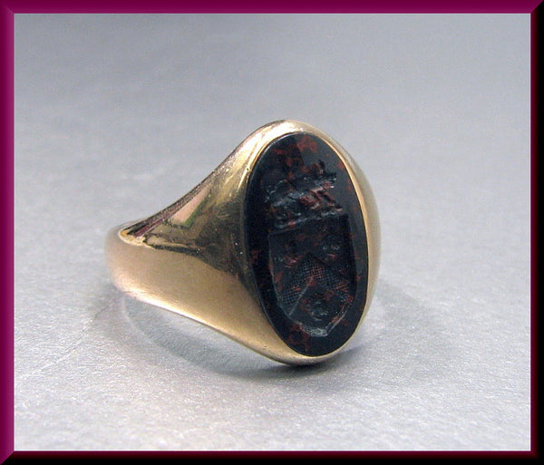 Antique Vintage Victorian 14K Pink Gold Men's Bloodstone Signet Crest Ring