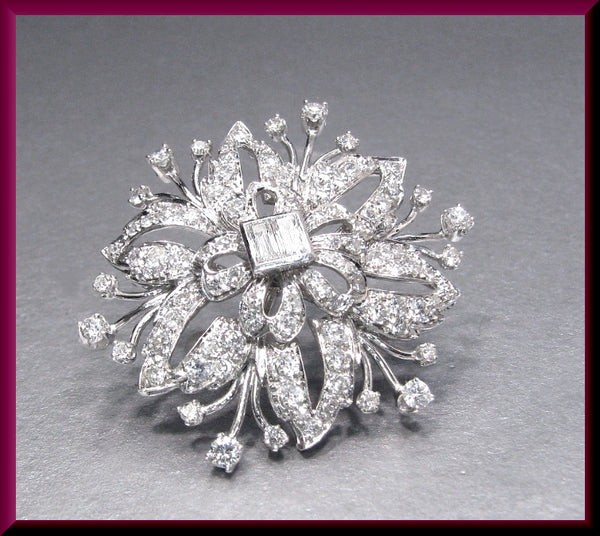 Antique Vintage Retro 1940's Platinum Diamond Spray Floral Pin Brooch