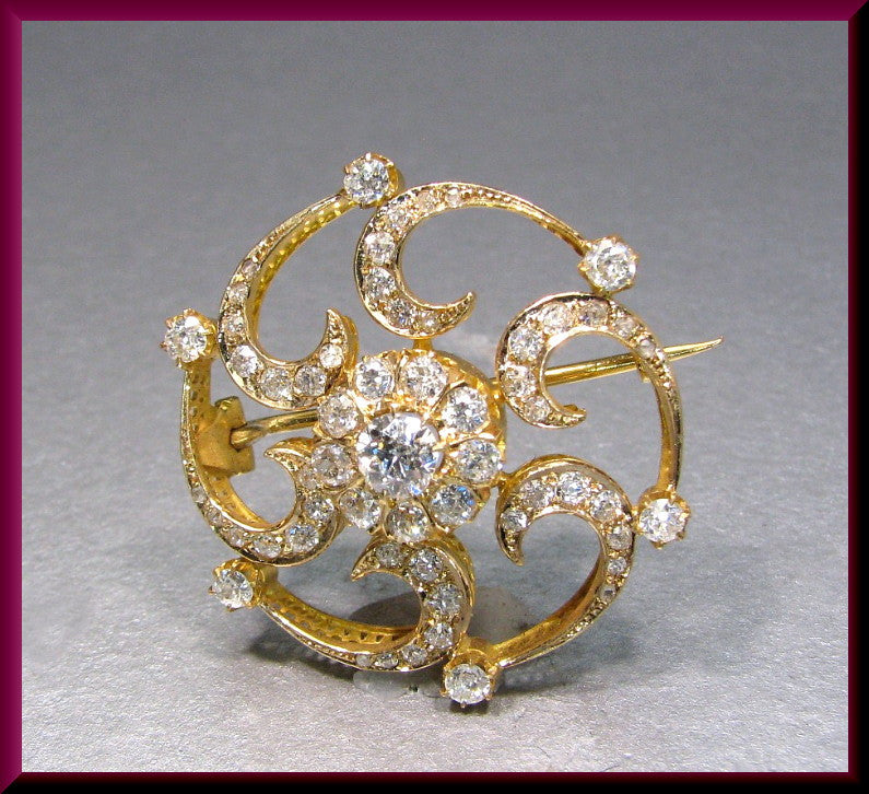 Antique Vintage Victorian 1880's 18K Yellow Gold Old European Cut Diamond Circle Pin Brooch