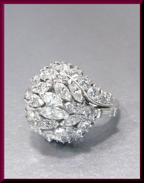 Antique Vintage Platinum 1950's Marquis and Round Diamond Cluster Cocktail Ring Statement Ring
