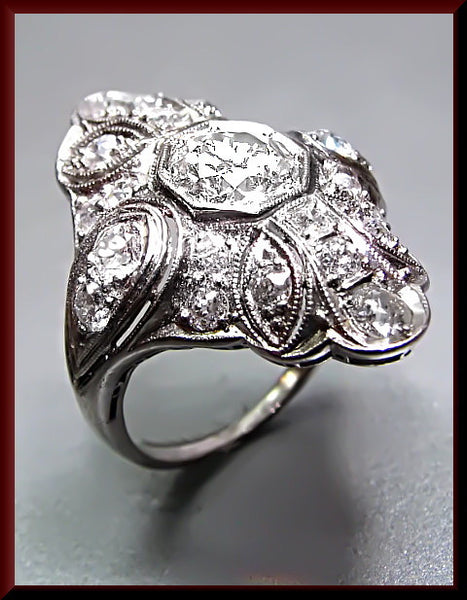 Antique Vintage Art Deco Platinum Diamond Dinner Cocktail Ring
