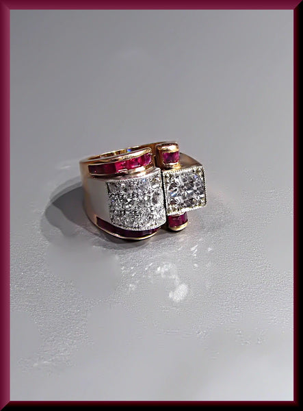 Antique Vintage Retro 1940's Pink  Gold Diamond and Ruby Cocktail Ring