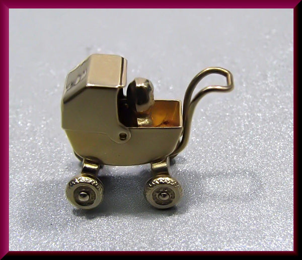 Vintage 1950's 14K Yellow Gold Movable Baby Carriage Pram Charm