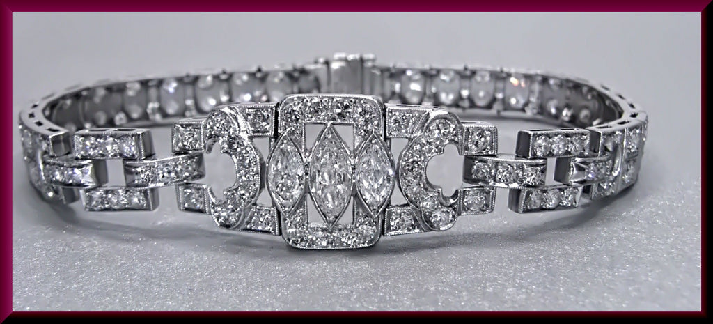 Antique Vintage Art Deco Platinum Marquis and Old European Cut Diamond Bracelet