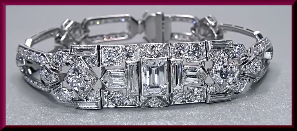 Antique Vintage Art Deco Platinum Princess Cut, Baguette and Round Diamond Bracelet