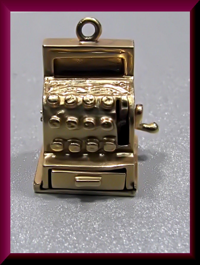 Vintage 1950's 14K Yellow Old Cash Register Charm with Movable Crank and Open/Close Drawer