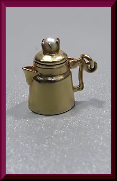 Vintage 14K Yellow Gold and Pearl Movable Coffee Pot Charm