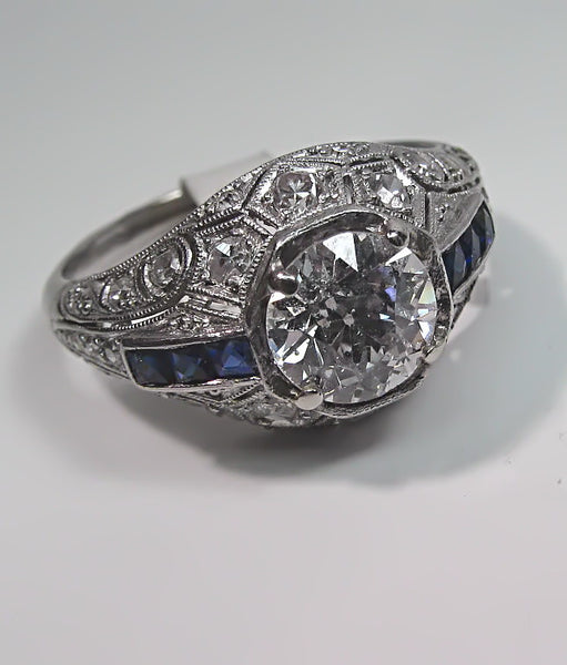 Antique Vintage Art Deco Platinum Filigree Old European Cut Diamond Engagement Ring Wedding Ring