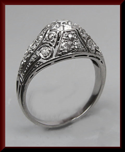 Antique Vintage Art Deco 1920's Platinum Old European Cut Diamond Engagement Ring Weddinig Ring