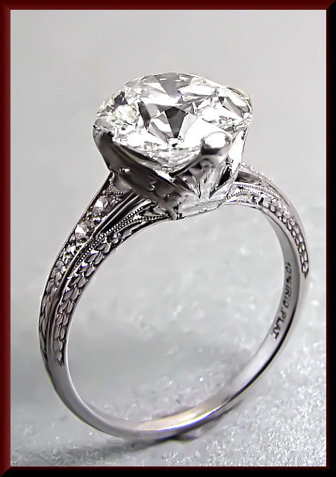 Antique Vintage Art Deco Platinum Diamond Engagement Ring with Old European Cut Diamond