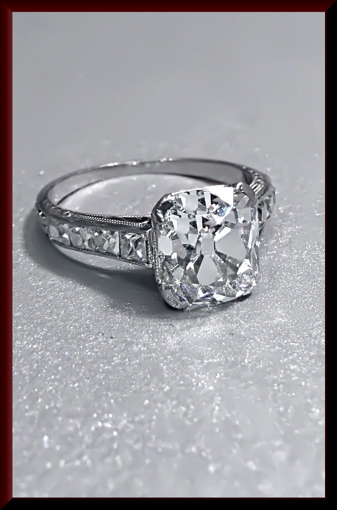 Antique Vintage Art Deco Platinum Cushion Cut Diamond Engagement Ring Wedding Ring