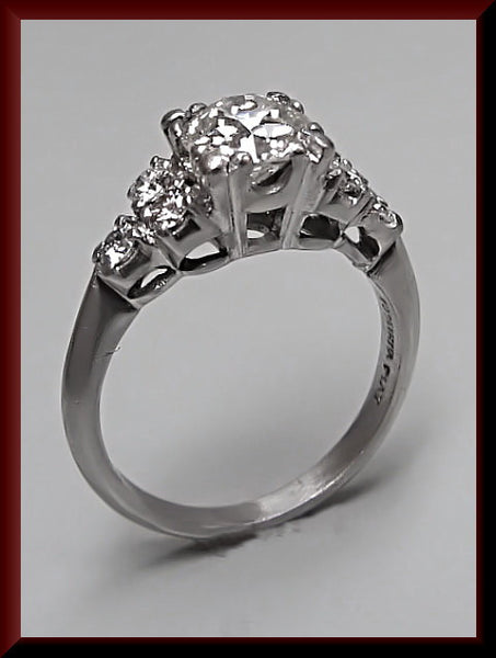Antique Vintage 1940's Retro Platinum Old European Cut Diamond Engagement Ring Wedding Ring