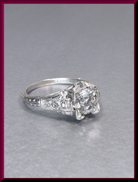 Antique Vintage Art Deco Platinum Old European Cut Diamond Filigree Engagement Ring Wedding Ring