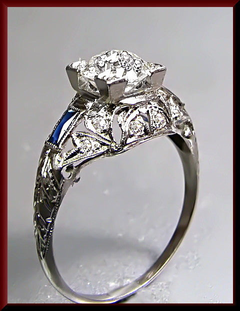 Antique Vintage Art Deco Platinum Filigree Old Euroepan Cut Diamond Engagement Ring