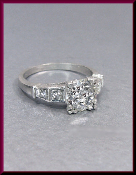 Antique Vintage Art Deco 1930's Platinum Old European Cut Diamond Engagement Ring