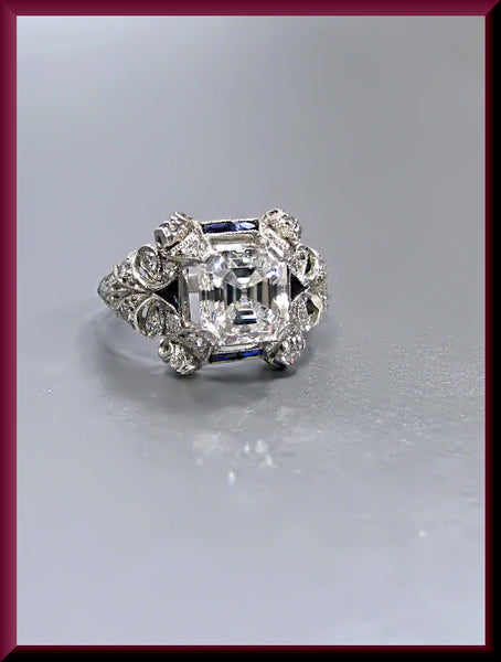 Antique Vintage Art Deco Platinum Asscher Cut Diamond Engagement Ring Wedding Ring