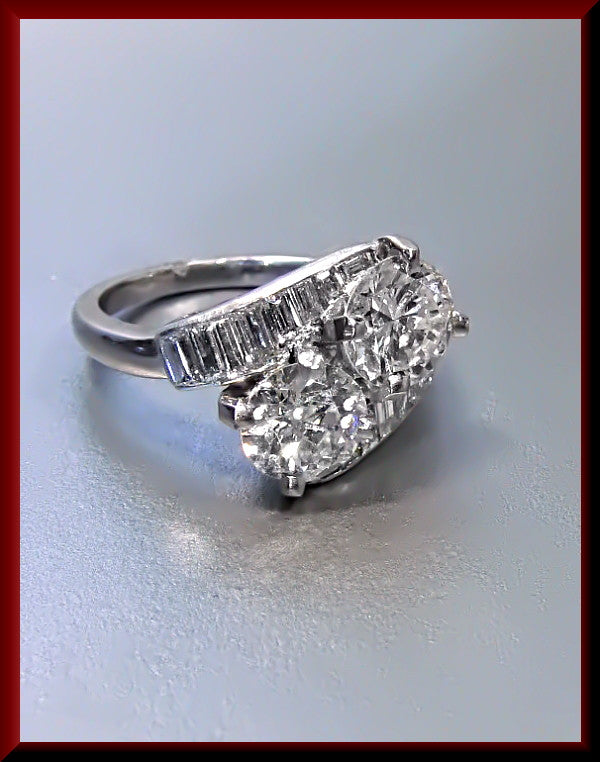 Antique Vintage Retro 1950's Platinum Diamond Double Stone Engagement Wedding Ring