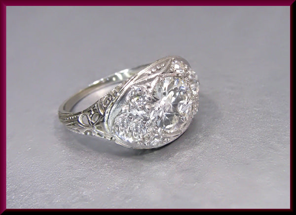 Antique Vintage Art Deco Platinum Old European Cut Diamond Engagement Ring Wedding Ring